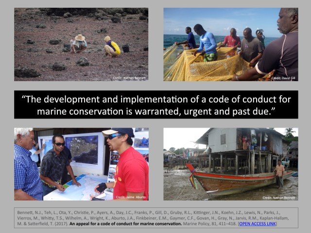 An appeal for a code of conduct for marine conservation - Bennett et al 2017 Marine Policy